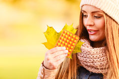 Woman with vitamins for autumn. Royalty Free Stock Photography