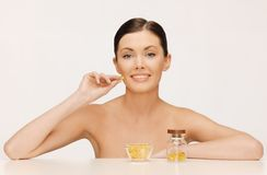 Woman with vitamins Stock Photo