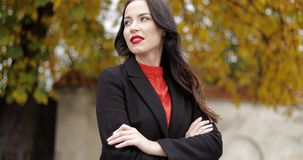 Woman with vivid makeup and crossed arms. Attractive confident woman with vivid makeup standing in autumn park, keeping her arms crossed and looking at camera stock footage