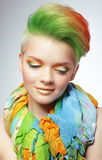 Woman with Vivid Multicolored Bob Haircut and Bright Makeup Royalty Free Stock Images