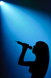Woman Vocalist Under Spotlight Stock Image