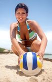 Woman with a volleyball Stock Photography