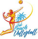 Woman volleyball player. Vector abstract, beach volleyball players symbol royalty free illustration