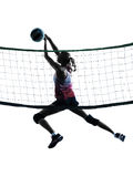 Woman volleyball players isolated silhouette Royalty Free Stock Image