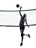 Woman volleyball players isolated silhouette Stock Photography