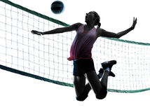 Woman volleyball players isolated silhouette Stock Images