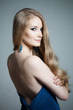 Woman with a volumetric hair Royalty Free Stock Images