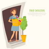 Woman Volunteer with food donation and clothes. Most needed items for  banks vector infographics  caned meat, socks Royalty Free Stock Photography