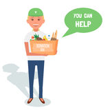 Woman Volunteers with donation boxes  on white. Vector Illustration. Woman Volunteers with donation boxes  on white. Vector Illustration Stock Image