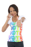 Woman in Vote Shirt Stock Photos