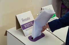 Woman voting on 2016 federal election day in Australia. Royalty Free Stock Photo