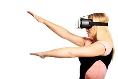 Woman with VR device Royalty Free Stock Photography