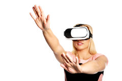 Woman with VR device Stock Images
