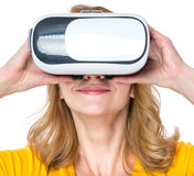 Woman with VR glasses Stock Photos