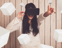 Woman in VR glasses. Woman in virtual reality helmet. VR glasses Stock Images