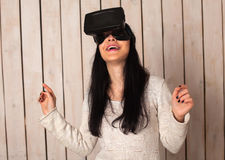 Woman in VR glasses Stock Photo