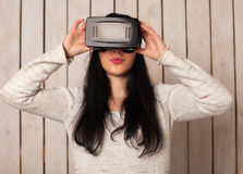 Woman in VR glasses Royalty Free Stock Photo