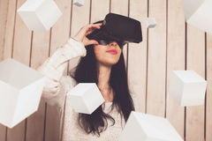 Woman in VR glasses Stock Image