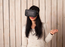 Woman in VR glasses Stock Photos