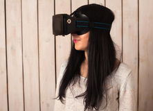 Woman in VR glasses Royalty Free Stock Photography