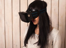 Woman in VR glasses Stock Photography