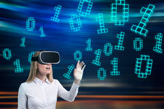 Woman in vr glasses, zeros and ones, psychedelic Royalty Free Stock Image