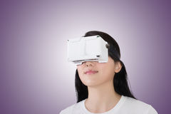 Woman with vr headset Stock Image