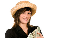 Woman with wad of money Royalty Free Stock Photos
