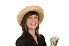 Woman with wad of money Royalty Free Stock Photo