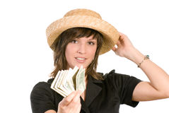 Woman with wad of money Stock Photography