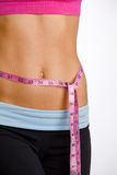 Woman waist. A profile of a woman's torso as she measures her waist Royalty Free Stock Photography