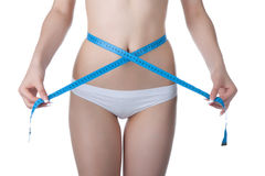 Woman waist measure stock image