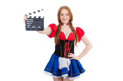 Woman waiter with movie board isolated Stock Image