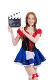 Woman waiter with movie board isolated Royalty Free Stock Images