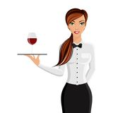 Woman waiter portrait. Cheerful sexy girl restaurant waiter with tray and wine glass portrait isolated on white background vector illustration Royalty Free Stock Photos