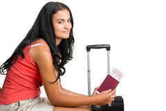 Woman waiting in an airport Stock Photo