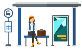 Woman waiting for bus Royalty Free Stock Photos
