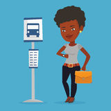 Woman waiting at the bus stop vector illustration. Royalty Free Stock Images