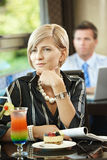 Woman waiting in cafe Royalty Free Stock Photo