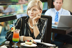 Woman waiting in cafe Stock Photos