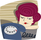 Woman is waiting for a call Royalty Free Stock Image