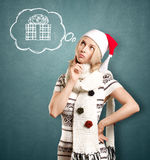 Woman Waiting For Christmas Stock Image