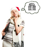 Woman Waiting For Christmas With Laptop Royalty Free Stock Photos
