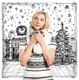 Woman Waiting For Christmas Royalty Free Stock Photo