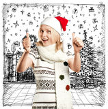 Woman Waiting For Christmas Royalty Free Stock Photography