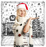 Woman Waiting For Christmas Stock Images