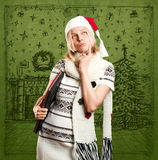 Woman Waiting For Christmas Royalty Free Stock Images