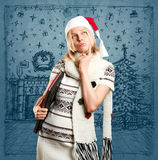 Woman Waiting For Christmas Royalty Free Stock Photos