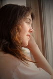 woman waiting depression stock image