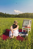 Woman Waiting on Green Meadow Stock Photos